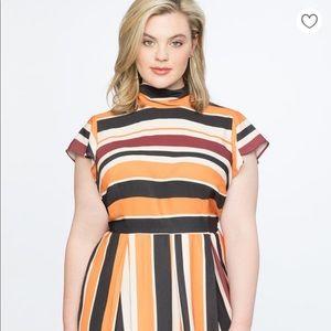 ELOQUII Stripe Dress with tie